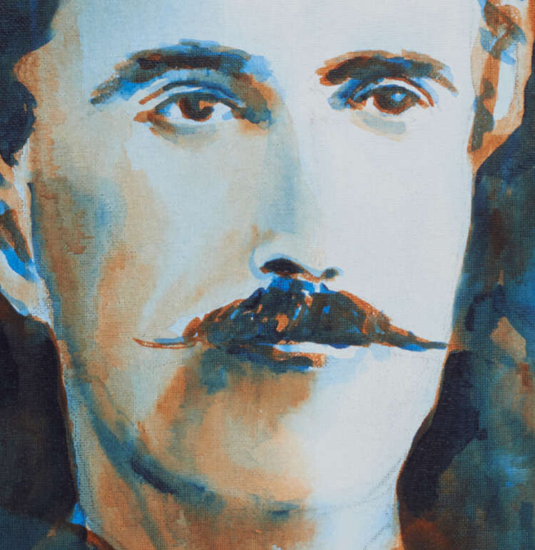 """artist rod coyne's portrait """"The O'Rahilly 1916"""" is shown here, close up."""