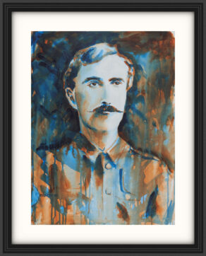"artist rod coyne's portrait ""The O'Rahilly 1916"" is shown here, on a white mount in a black frame."
