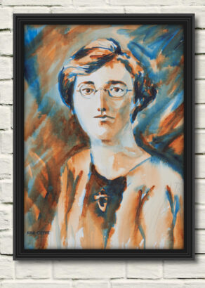 "artist rod coyne's portrait ""Kathleen Clarke 1916"" is shown here, in a black frame on a white wall."