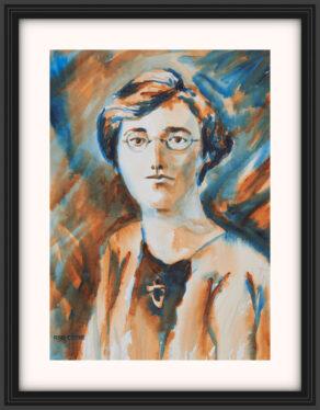 "artist rod coyne's portrait ""Kathleen Clarke 1916"" is shown here, on a white mount in a black frame."