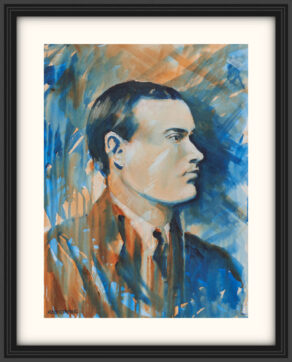 """artist rod coyne's portrait """"padraig pearse 1916"""" is shown here, on a white mount in a black frame."""