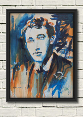 """artist rod coyne's portrait """"Thomas McDonagh 1916"""" is shown here, on a white mount in a black frame on a withe wall."""