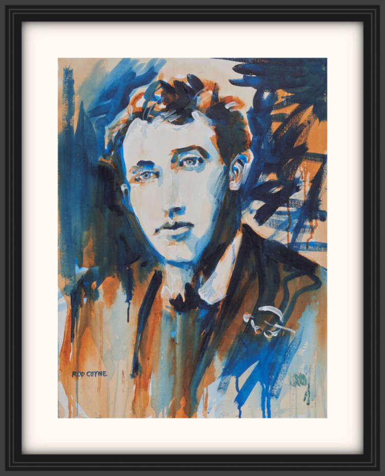 """artist rod coyne's portrait """"Thomas McDonagh 1916"""" is shown here, on a white mount in a black frame."""