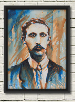 "artist rod coyne's portrait ""Éamonn Ceannt 1916"" is shown here, in a black frame on a white wall."
