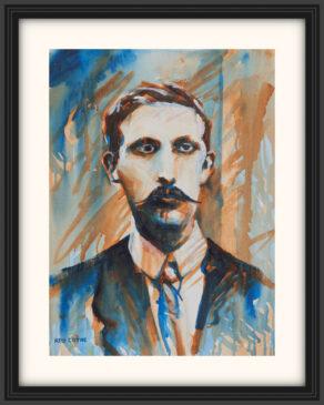 "artist rod coyne's portrait ""Éamonn Ceannt 1916"" is shown here, on a white mount in a black frame."