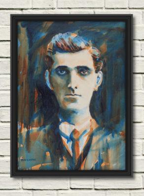 "artist rod coyne's portrait ""Seán Mac Diarmada 1916"" is shown here, in a black frame on a white wall."