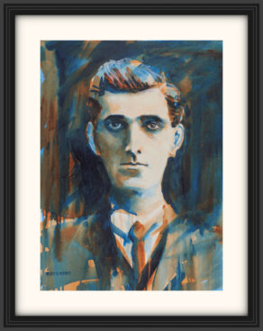 "artist rod coyne's portrait ""Seán Mac Diarmada 1916"" is shown here, on a white mount in a black frame."