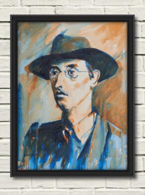 "artist rod coyne's portrait ""Joseph Mary Plunkett 1916"" is shown here, in a black frame on a white wall."
