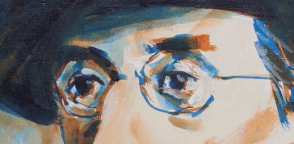 "artist rod coyne's portrait ""Joseph Mary Plunkett 1916"" is shown here, close upon eyes."