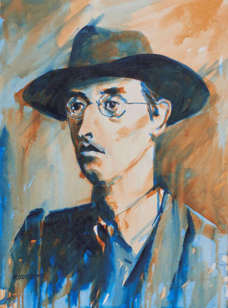 "artist rod coyne's portrait ""Joseph Mary Plunkett 1916"" is shown here, product image."