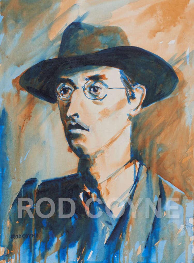 "artist rod coyne's portrait ""Joseph Mary Plunkett 1916"" is shown here, watermarked."