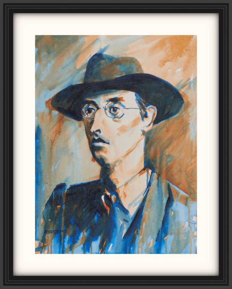 "artist rod coyne's portrait ""Joseph Mary Plunkett 1916"" is shown here, on a white mount in a black frame."