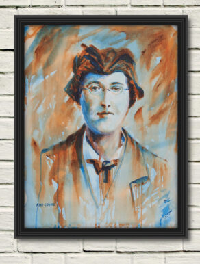"artist rod coyne's portrait ""Margaret Skinnider 1916"" is shown here, in a black frame on a white wall."