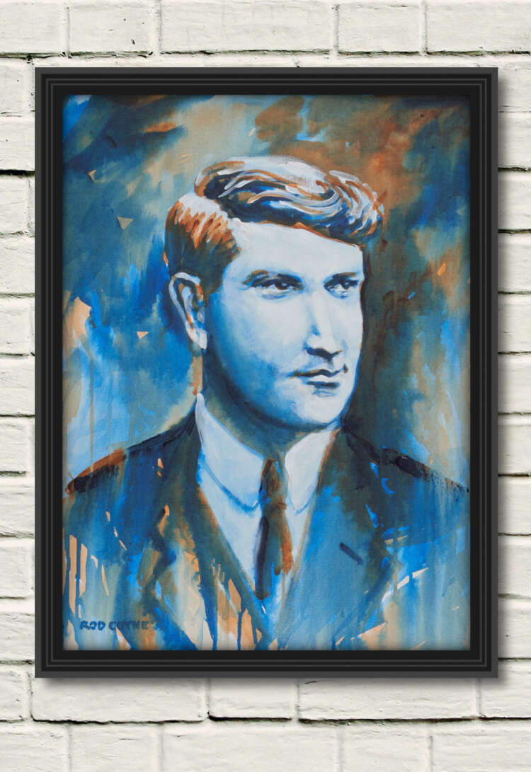 """artist rod coyne's portrait """"Michael Collins 1916"""" is shown here, in a black frame on a white wall."""