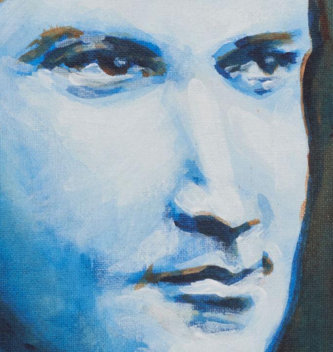 "artist rod coyne's portrait ""Michael Collins 1916"" is shown here, close up."