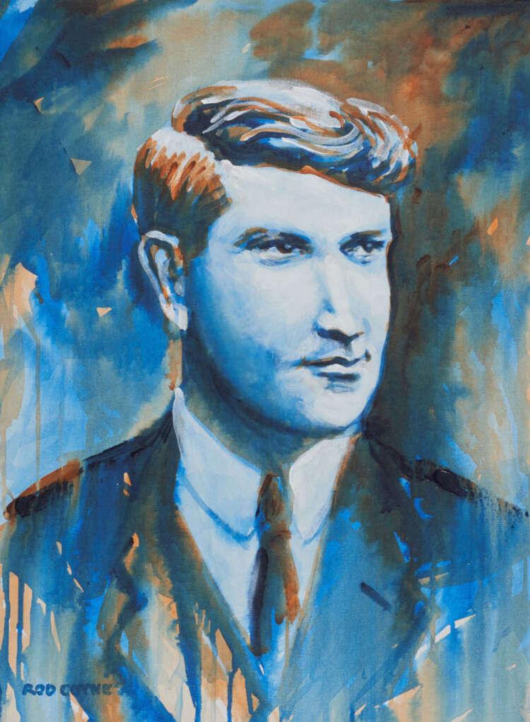 "artist rod coyne's portrait ""Michael Collins 1916"" is shown here."