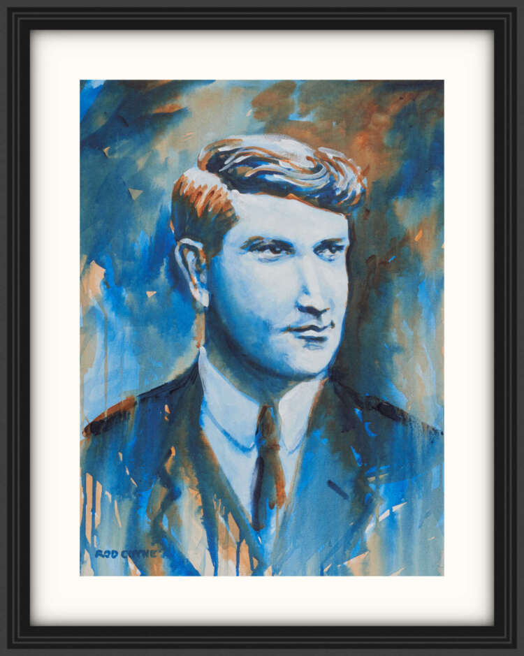 """artist rod coyne's portrait """"Michael Collins 1916"""" is shown here, on a white mount in a black frame."""