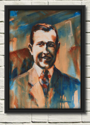 """artist rod coyne's portrait """"Harry Boland 1916"""" is shown here, in a black frame on a white wall."""