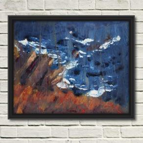 "artist rod coyne's seacape ""cill rialaig dream"" is shown here, in a black frame on a white wall."