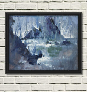 """artist rod coyne's seacape """"irregular's dream"""" is shown here, in a black frame on a white wall"""