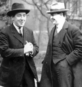 vintage photo shows harry boland joking with michael collins, sometime during the irish war of independence.