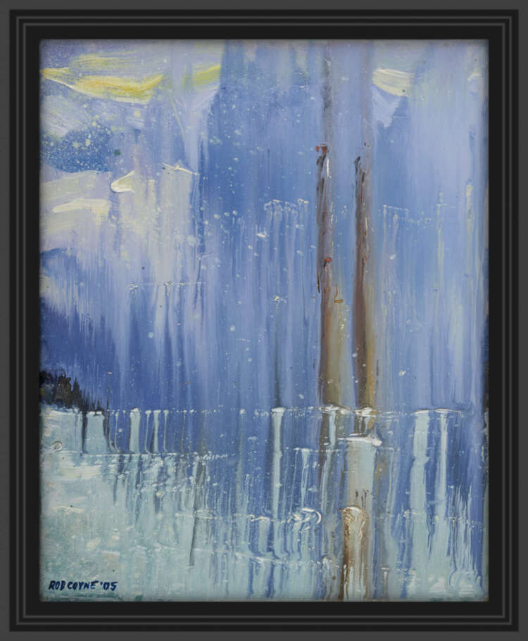 """artist rod coyne's seascape """"pigeon house on ice"""" is shown here in a black frame."""