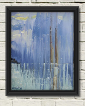 """artist rod coyne's seascape """"pigeon house on ice"""" is shown here in a black frame on a white wall."""