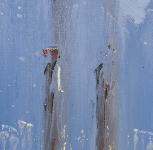 """artist rod coyne's seascape """"pigeon house on ice"""" is shown here in close up deatil."""