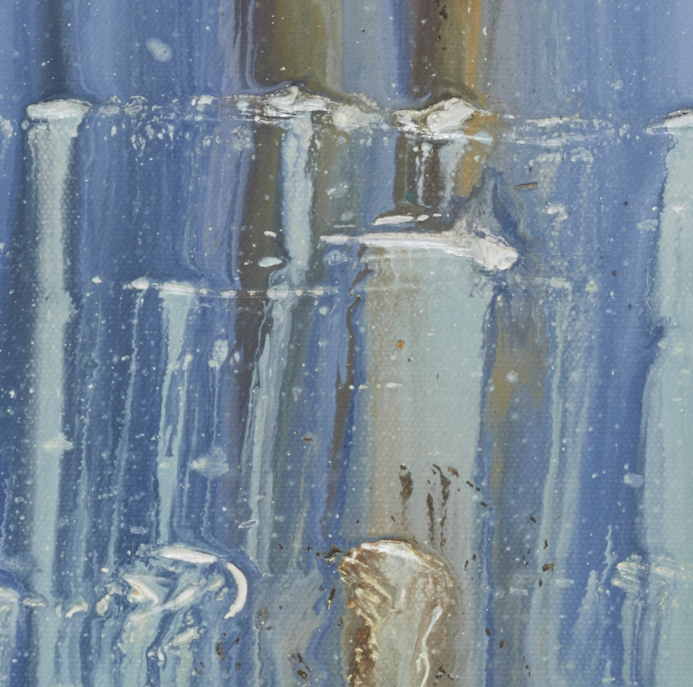 """artist rod coyne's seascape """"pigeon house on ice"""" is shown here in a close up detail #2."""