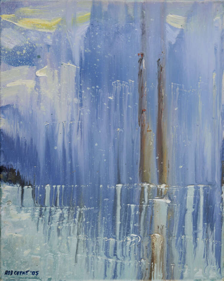 """artist rod coyne's seascape """"pigeon house on ice"""" is shown here."""