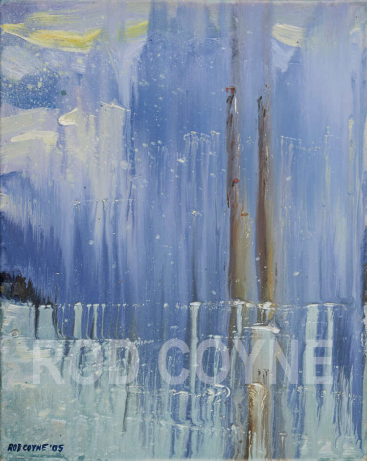 """artist rod coyne's seascape """"pigeon house on ice"""" is shown here, watermarked.."""