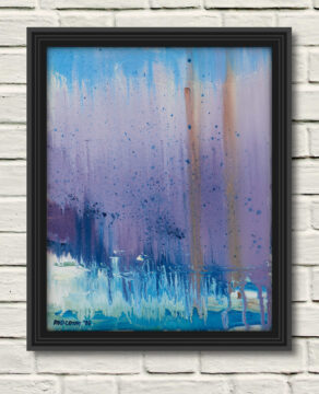 """artist rod coyne's seascape """"pigeon house mirage"""" is shown here in a black frame on a white wall."""