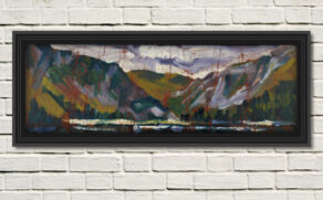 """artist rod coyne's seascape """"st. kevin's bed"""" is shown here in a black frame on a white wall."""