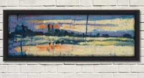 "artist rod coyne's seascape ""dublin dusk"" is shown here in a black frame on a white wall."