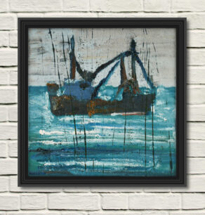 """artist rod coyne's seascape """"ballinskelligs trawler"""" is shown here in a black frame on a white wall."""