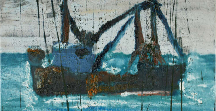 """artist rod coyne's seascape """"ballinskelligs trawler"""" is shown here, cropped for facebook."""