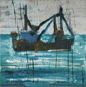 """artist rod coyne's seascape """"ballinskelligs trawler"""" is shown here."""