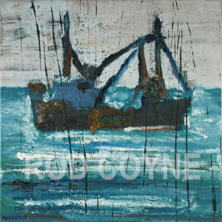 "artist rod coyne's seascape ""ballinskelligs trawler"" is shown here, watermarked."
