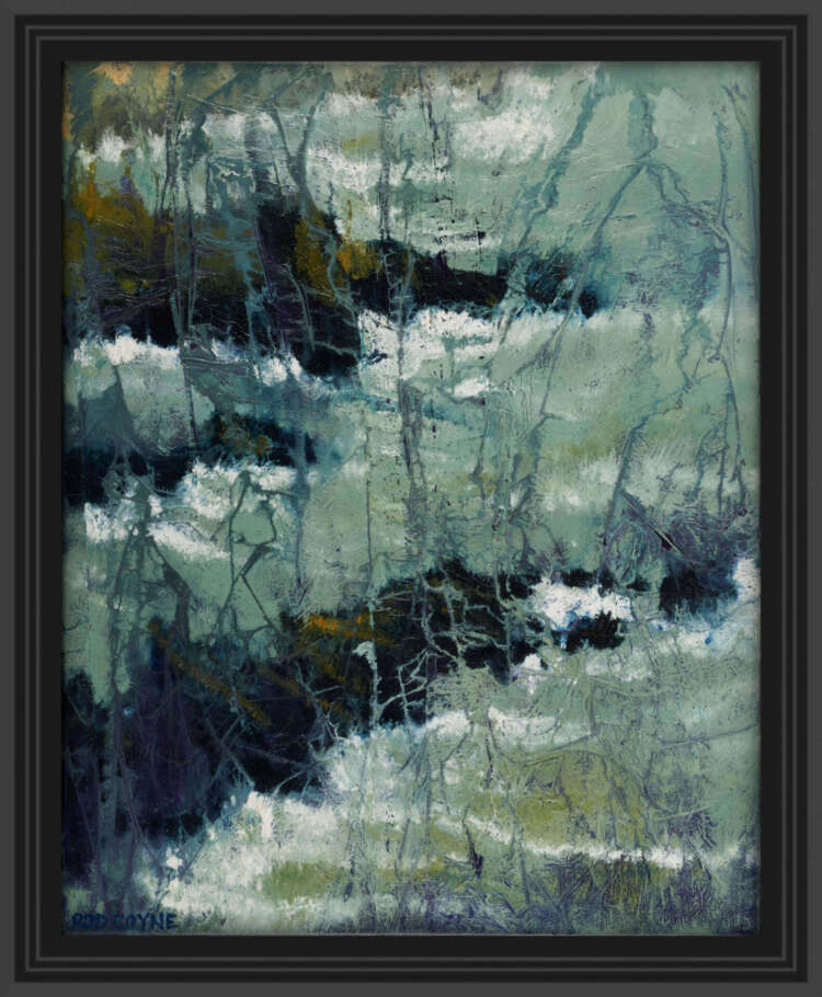 "artist rod coyne's seascape ""kilmichael rocks"" is shown here in a black frame."
