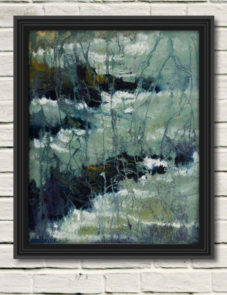 "artist rod coyne's seascape ""kilmichael rocks"" is shown here in a black frame on a white wall."