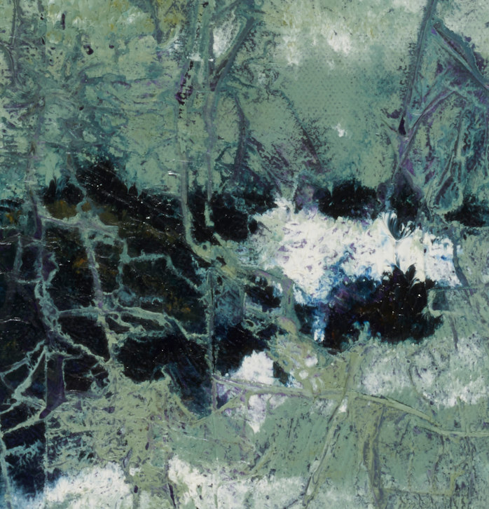 """artist rod coyne's seascape """"kilmichael rocks"""" is shown here, in a close up detail."""