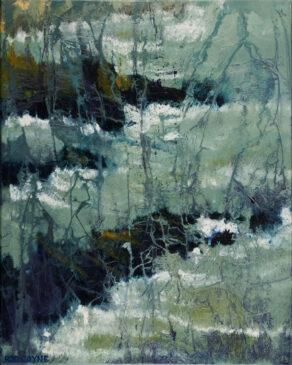 "artist rod coyne's seascape ""kilmichael rocks"" is shown here."