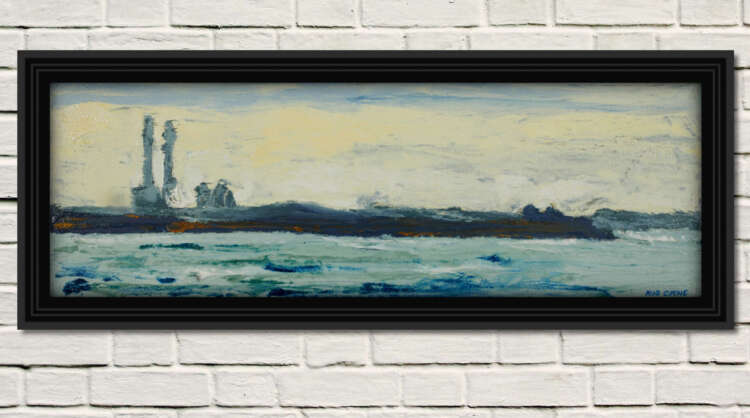 """artist rod coyne's seascape """"across scottsmans bay"""" is shown here in a black frame on a white wall."""