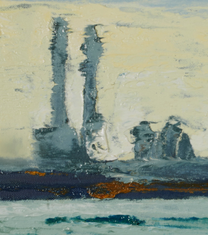 """artist rod coyne's seascape """"across scottsmans bay"""" is shown here, in close up detail."""