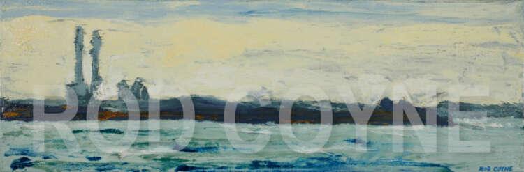 "artist rod coyne's seascape ""across scottsmans bay"" is shown here, watermarked."