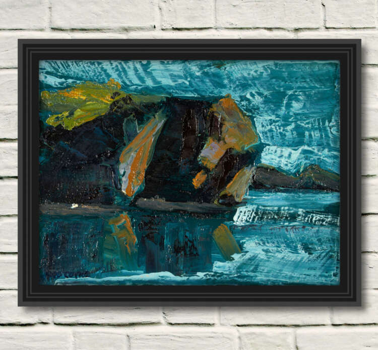 """artist rod coyne's seascape """""""" is shown here in a black frame on a white wall."""
