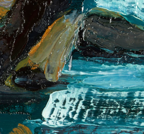 """artist rod coyne's seascape """"departing headland"""" is shown here, in a close up detail."""