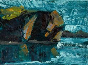"artist rod coyne's seascape ""departing headland"" is shown here."