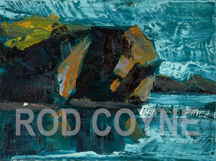 """artist rod coyne's seascape """"departing headland"""" is shown here, watermarked."""