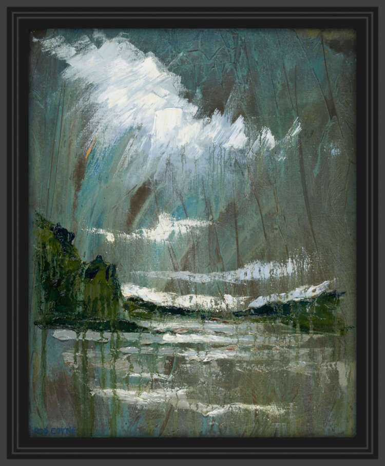 "artist rod coyne's landscape painting ""Slaney Estuary"" is shown here, in a black frame."